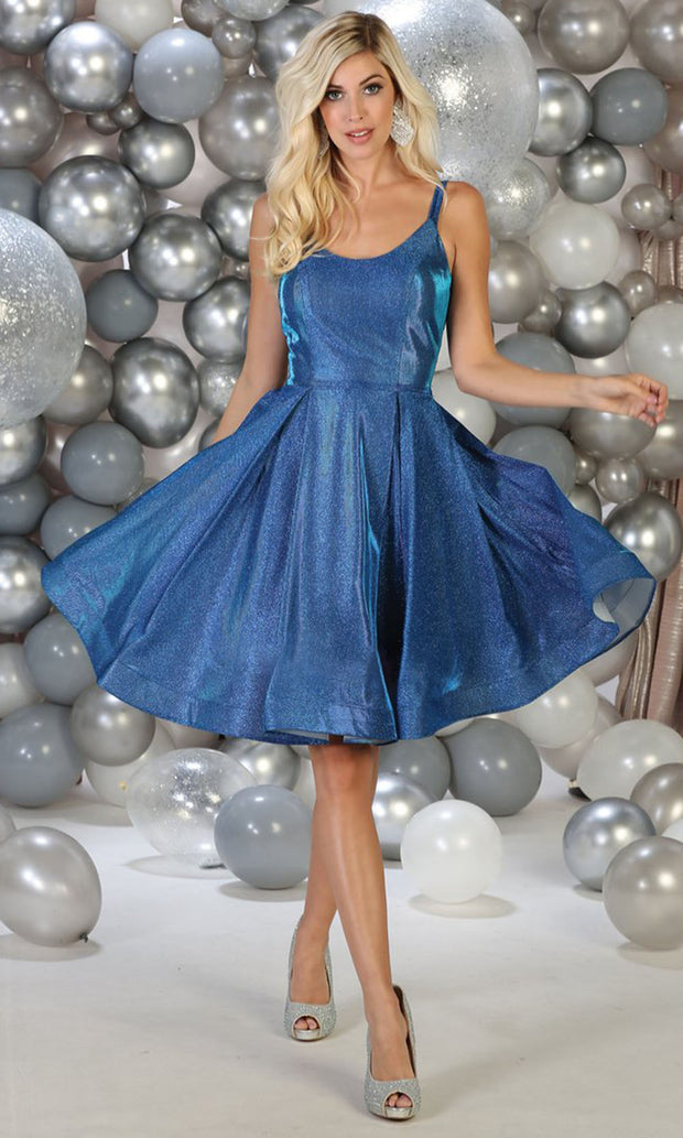 May Queen - RQ7752 Scoop Neck & Back Glittered Dress In Blue