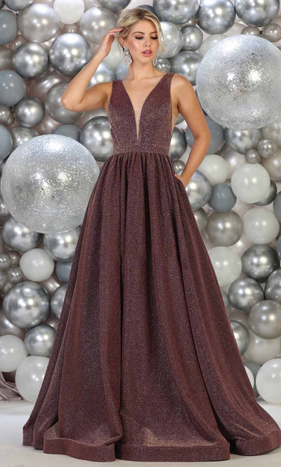 May Queen - RQ7753 Glitter Deep V Neck Evening Gown In Mauve