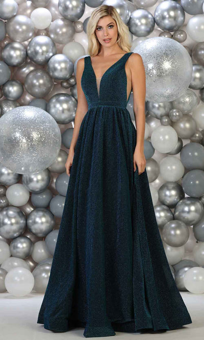 May Queen - RQ7753 Glitter Deep V Neck Evening Gown In Blue