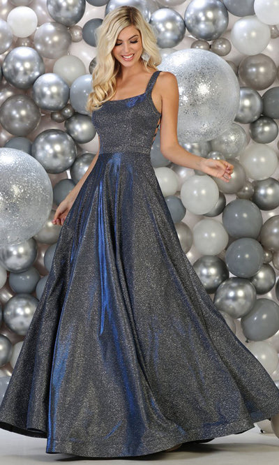 May Queen - RQ7757 Scoop Glittered Long Dress In Blue