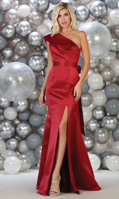 May Queen - RQ7761 Asymmetric Trumpet Dress In Red