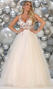 May Queen - RQ7765 V Neck Floral Ballgown In Pink and White