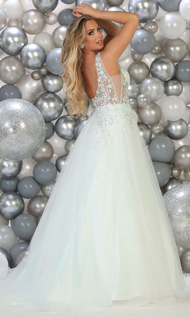 May Queen - RQ7765 V Neck Floral Ballgown In Blue and White