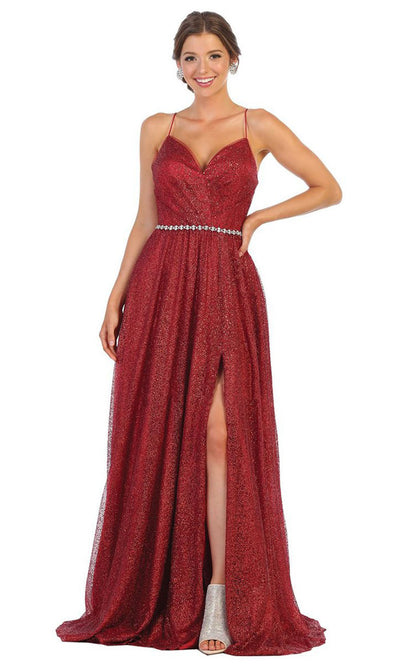 May Queen - RQ7792 Thin Strapped Glittered Gown In Red