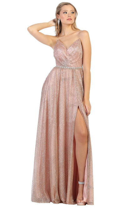 May Queen - RQ7792 Thin Strapped Glittered Gown In Pink
