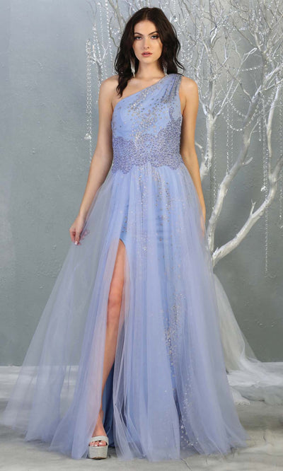 May Queen - RQ7809 Sequined Asymmetrical Evening Gown In Blue