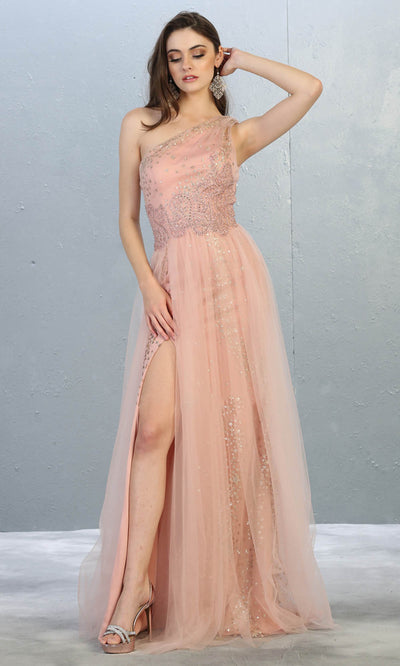 May Queen - RQ7809 Sequined Asymmetrical Evening Gown In Pink
