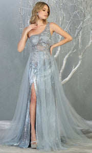 May Queen - RQ7816 Asymmetric Glittered Dress In Blue