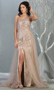 May Queen - RQ7816 Asymmetric Glittered Dress In Pink and Gold