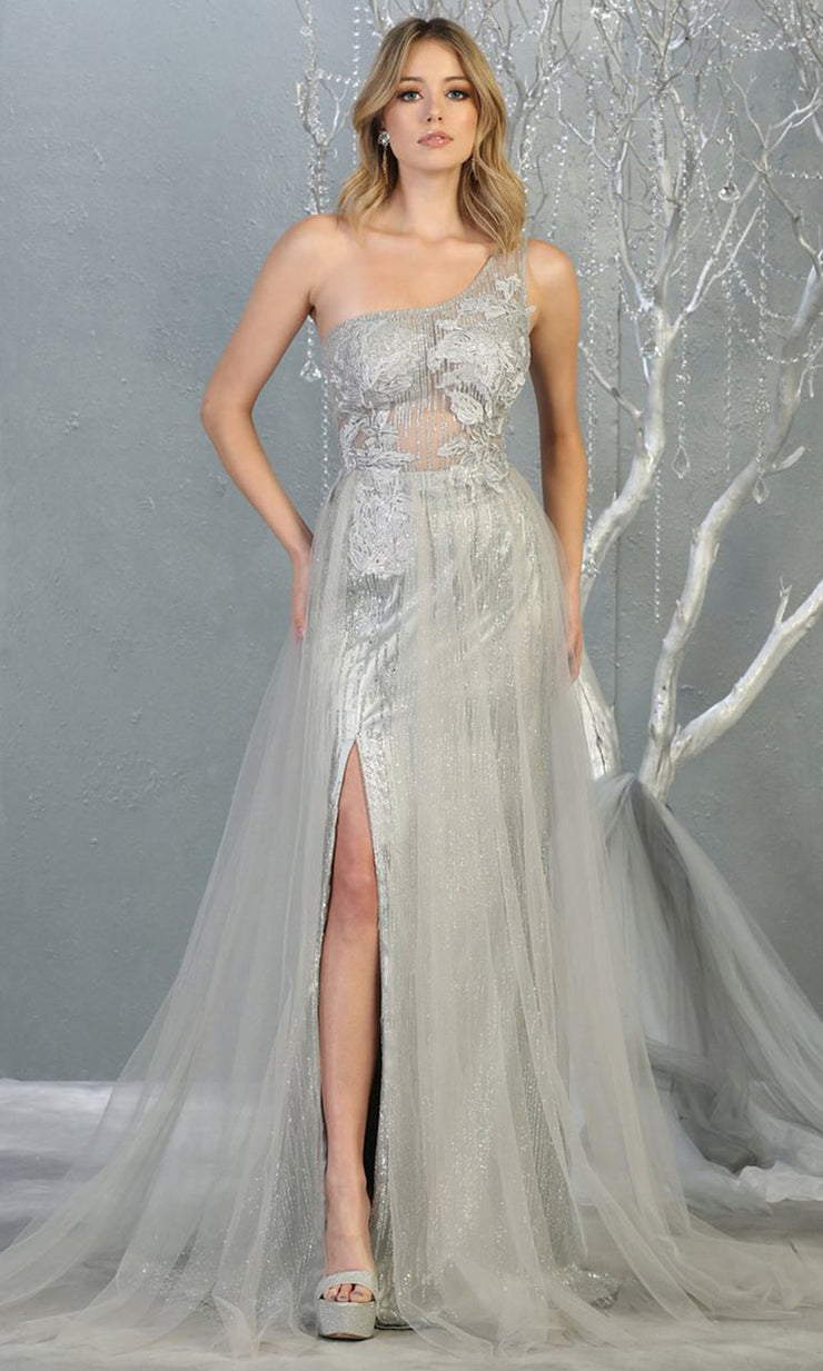 May Queen - RQ7816 Asymmetric Glittered Dress In Silver
