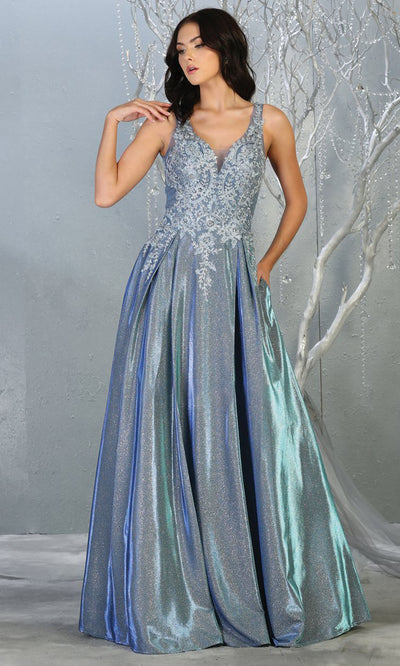May Queen - RQ7818 V Neck Metallic A-Line Gown In Blue