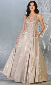 May Queen - RQ7818 V Neck Metallic A-Line Gown In Gold