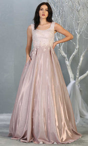 May Queen - RQ7835 Scoop Beaded A-Line Dress In Pink and Gold