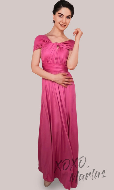 Long fuchsia infinity bridesmaid dress or multiway dress or convertible dress.One dress worn in multiple ways.This bright pink one size dress is great for bridesmaid, prom, destination wedding, gala, cheap western party dress, semi formal, cocktail