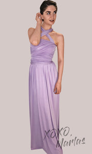 Long lilac purple infinity bridesmaid dress or multiway dress or convertible dress.One dress worn in multiple ways.This light purple or lavendar one size dress is great for bridesmaid, prom, destination wedding, gala, cheap western party dress