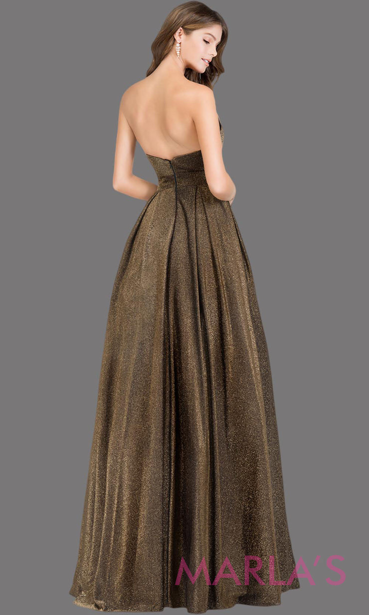 Back of Long metallic dark gold strapless semi ball gown. This gold formal ballgown is perfect as a dark gold prom dress, wedding reception or engagement dress, shimmery indowestern formal party gown, fancy wedding guest dress.Plus Sizes avail