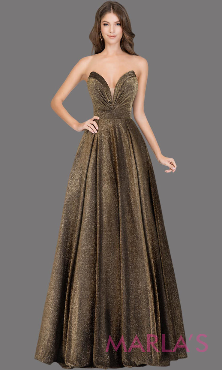 Long metallic dark gold strapless semi ball gown. This gold formal ballgown is perfect as a dark gold prom dress, wedding reception or engagement dress, shimmery indowestern formal party gown, fancy wedding guest dress.Plus Sizes avail
