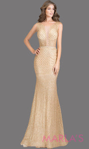 Long sequin beaded champagne sleek & sexy evening dress featuring high neck &low open back. Perfect as a gold prom dress, sexy wedding guest dress, formal evening party, gala dress, gold wedding reception or engagement dressd. Plus sizes avail