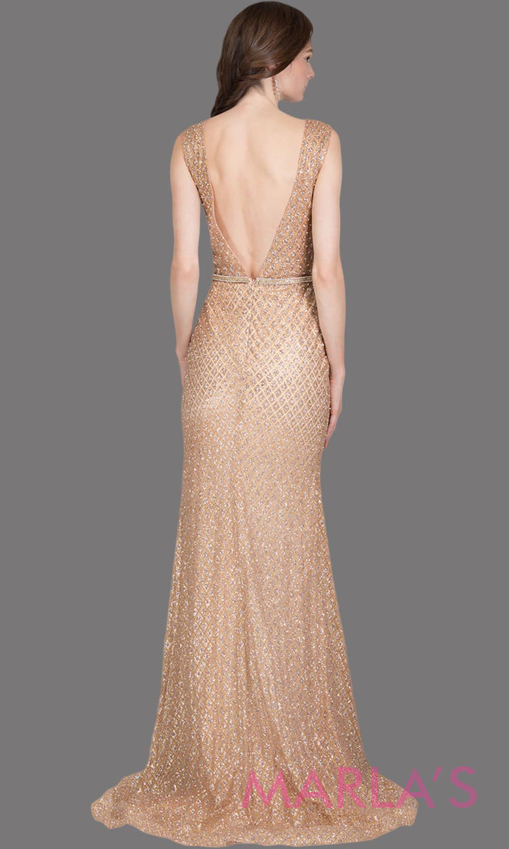 Back of Long sequin beaded rose gold sleek & sexy evening dress feature high neck & low open back.Perfect as a mauve prom dress,sexy wedding guest dress,formal evening party,gala dress,dusty rose wedding reception or engagement dressd.Plus sizes avail
