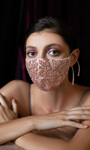 Rose gold sequin beaded mask for wedding, prom, special occasion, court wedding, backyard wedding