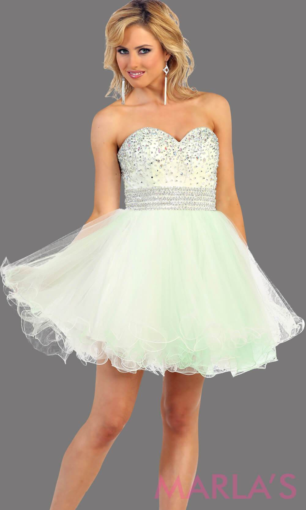 Short puffy white-mint dress with a beaded bodice feature a sweetheart neckline and empire waist that flow into layers of tulle. This light mint dress has a corset back and avail in plus size. Perfect for grade 8 graduation