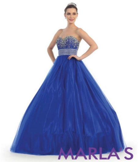* Long Simple and Classic Royal Blue Ball Gown