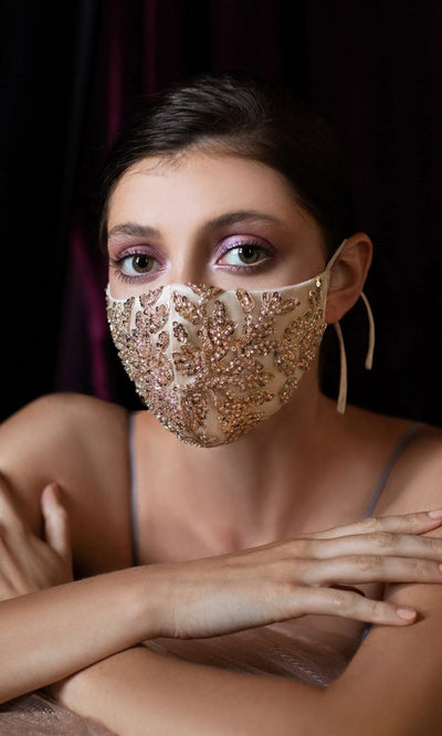 Champagne Gold Beaded Party Masks