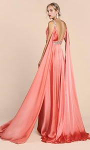 Cinderella Divine - A0065 Cape Sleeve Slit Satin Gown In Coral & Orange
