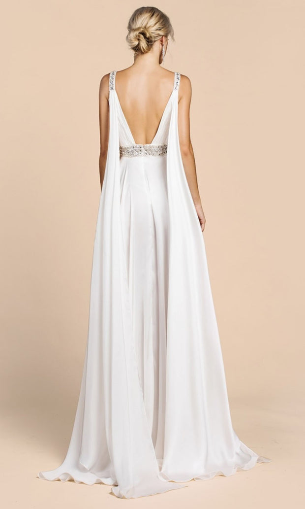 Cinderella Divine - A0065 Cape Sleeve Slit Satin Gown In White & Ivory