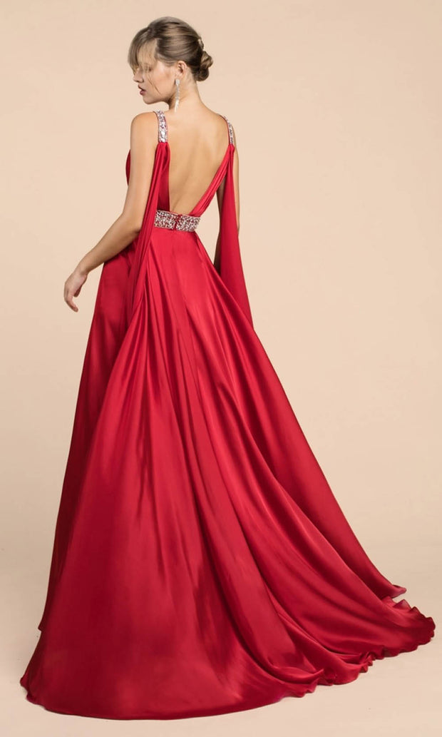 Cinderella Divine - A0065 Cape Sleeve Slit Satin Gown In Red