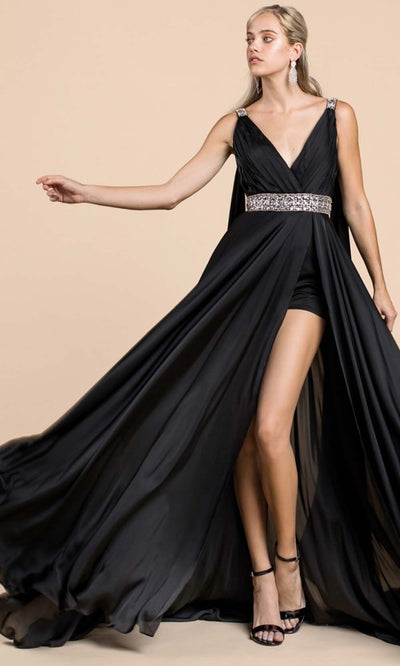 Cinderella Divine - A0065 Cape Sleeve Slit Satin Gown In Black