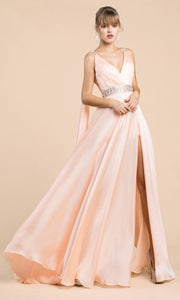 Cinderella Divine - A0065 Cape Sleeve Slit Satin Gown In Pink