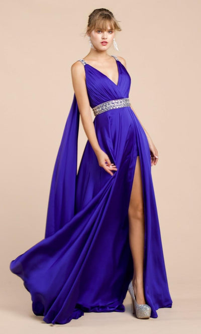 Cinderella Divine - A0065 Cape Sleeve Slit Satin Gown In Blue