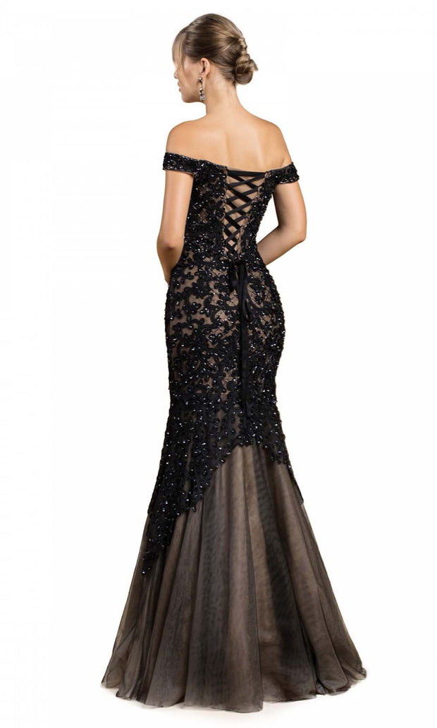 Cinderella Divine - A0401 Lace Overlay Mermaid Gown In Black