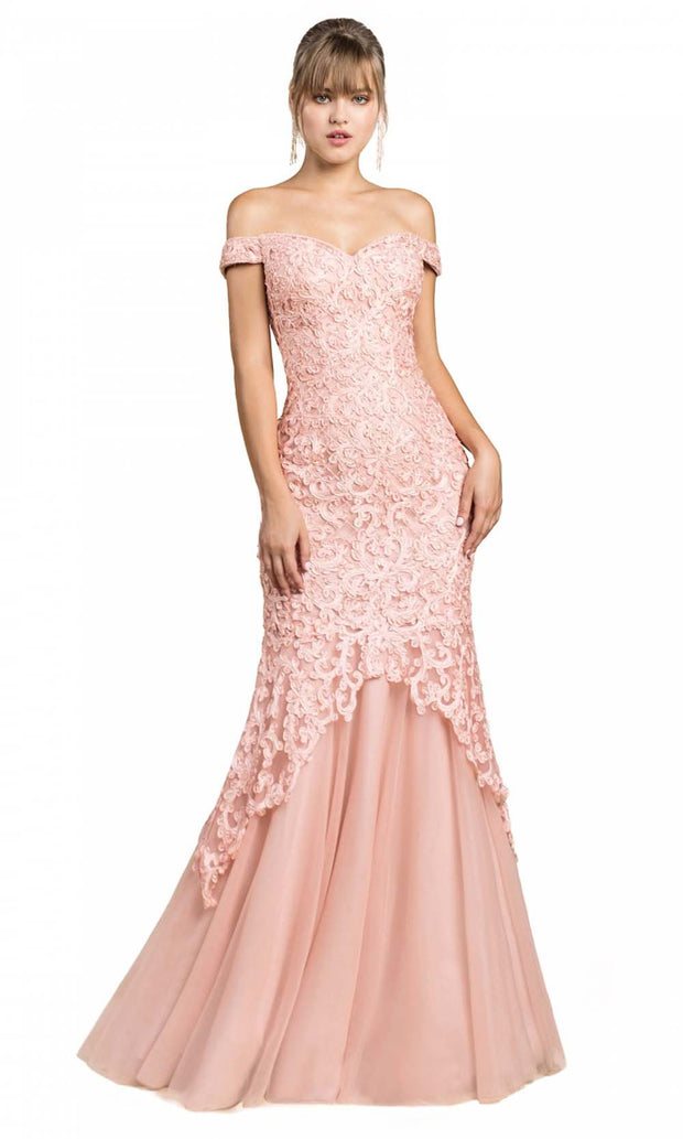 Cinderella Divine - A0401 Lace Overlay Mermaid Gown In Pink