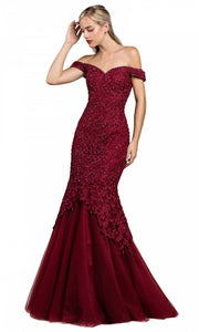 Cinderella Divine - A0401 Lace Overlay Mermaid Gown In Burgundy