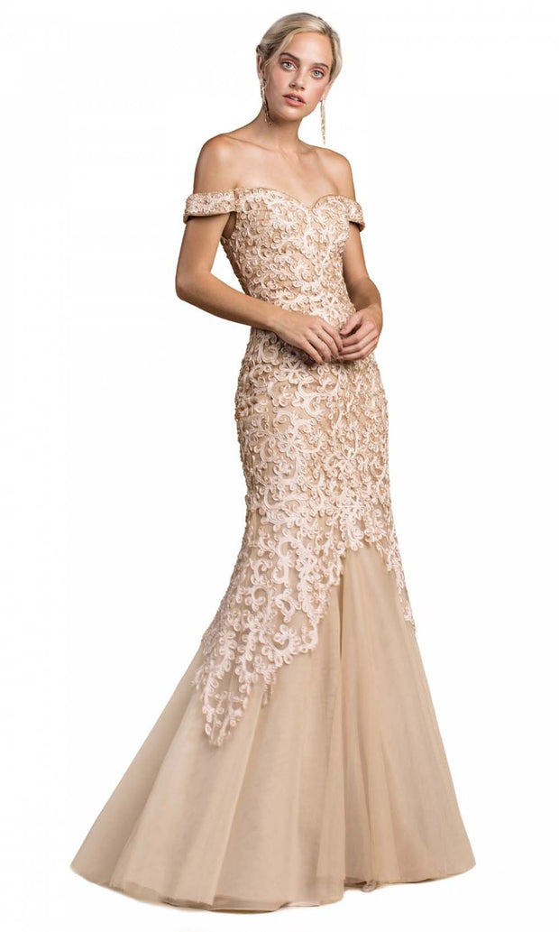 Cinderella Divine - A0401 Lace Overlay Mermaid Gown In Champagne & Gold