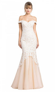 Cinderella Divine - A0401 Lace Overlay Mermaid Gown In White & Ivory