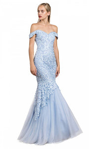 Cinderella Divine - A0401 Lace Overlay Mermaid Gown In Blue