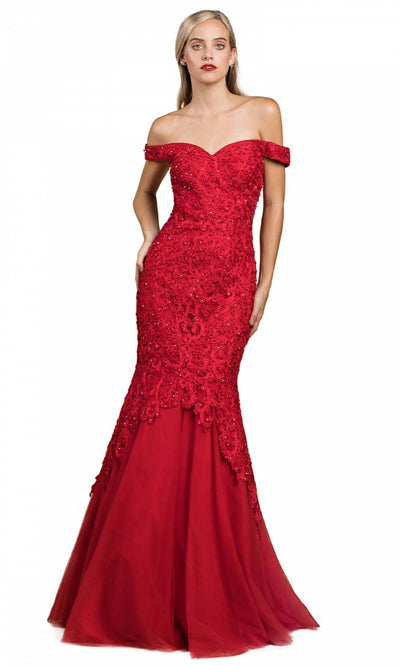Cinderella Divine - A0401 Lace Overlay Mermaid Gown In Red