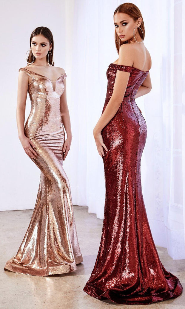 Cinderella Divine - A0593 Full Sequin Long Fitted Gown In Burgundy