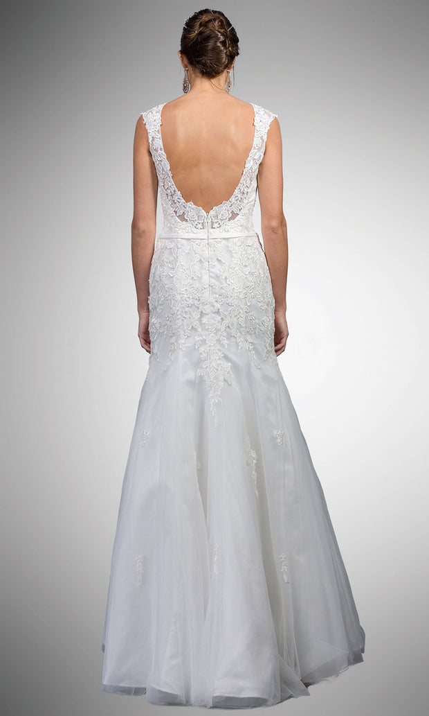 Dancing Queen - A7000 Embroidered Jewel Neck Trumpet Gown In White