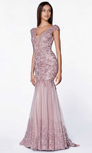 Cinderella Divine - AM147 Cap Sleeve Embroidered Gown In Purple