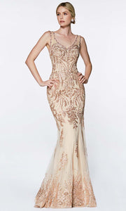 Cinderella Divine - AM186 V Neck And Back Long Gown In Gold and White