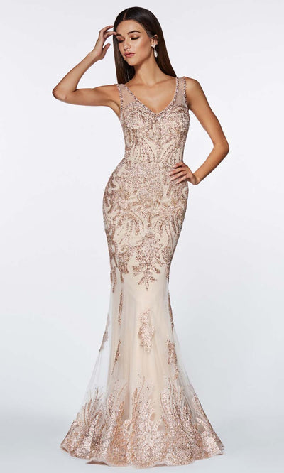 Cinderella Divine - AM186 V Neck And Back Long Gown In White and Neutral