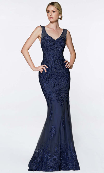 Cinderella Divine - AM186 V Neck And Back Long Gown