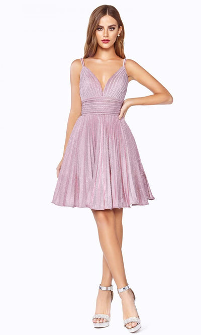 Cinderella Divine - AM391 Pleated Glitter A-Line Dress In Pink