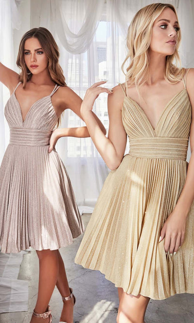 Cinderella Divine - AM391 Pleated Glitter A-Line Dress In Champagne & Gold