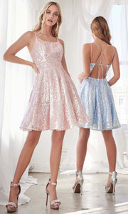 Cinderella Divine - AM398 Full Sequin Cocktail Dress In Blue