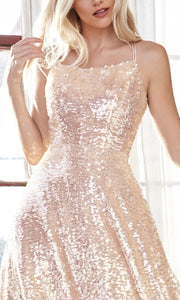 Cinderella Divine - AM398 Full Sequin Cocktail Dress In Champagne & Gold